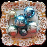 Vintage Shiny Brite Glass Stencil Christmas Ornaments Blue 6