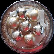 Vintage Glass Stencil Christmas Ornaments Snowflake Silver Pale Gold