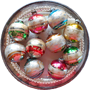 Vintage Shiny Brite Glass Christmas Ornaments Striped Glitter Set 10