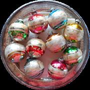 Vintage Shiny Brite Glass Christmas Ornaments Striped Glitter Set 10