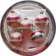 Vintage Shiny Brite Glass Christmas Ornaments Stripes Mica 2.75 Inch Pink Green