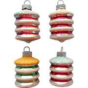 Vintage Shiny Brite Glass Christmas Ornaments Lantern Shape Stripes Mica