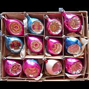 Vintage Glass Christmas Ornaments Poland Indents Pink Blue Set 12
