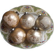 Vintage Glass Christmas Ornaments Stencils Large 3.25 Inch Champagne Color