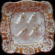 Vintage Krebs Glass Christmas Tree Ornaments Bells Victorian Series Yellow Roses