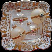 Vintage Krebs Glass Christmas Tree Ornaments Victorian Series Roses Pink Blue Gold