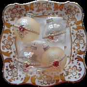 Vintage Krebs Glass Christmas Tree Ornaments Victorian Series Roses Pink Silver