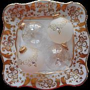 Vintage Krebs Glass Christmas Tree Ornaments Jeweled Gold Glitter Filigree