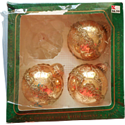 Vintage Krebs Glass Christmas Tree Ornaments Glitter Filigree Lace Gold