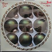 Vintage Krebs Glass Christmas Tree Ornaments Olive Green Velvet Original Box