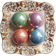 Vintage Krebs Glass Christmas Tree Ornaments Pastel Porcelain Glaze