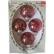 Vintage Krebs Glass Christmas Tree Ornaments December Red w Glitter