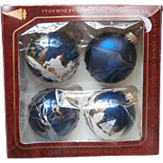 Vintage Krebs Glass Christmas Tree Ornaments Blue Deer Scenic Set