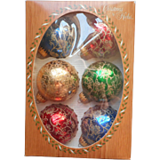 Vintage Krebs Glass Christmas Tree Ornaments Filigree Glitter Jewel Colors