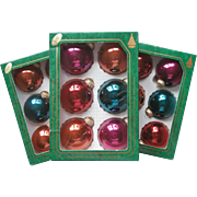 Vintage Krebs Glass Christmas Tree Ornaments Holiday Fashion 18 Rich Jewel Colors