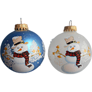 Vintage Krebs Glass Christmas Tree Ornaments 2 Snowmen Blue Frosted