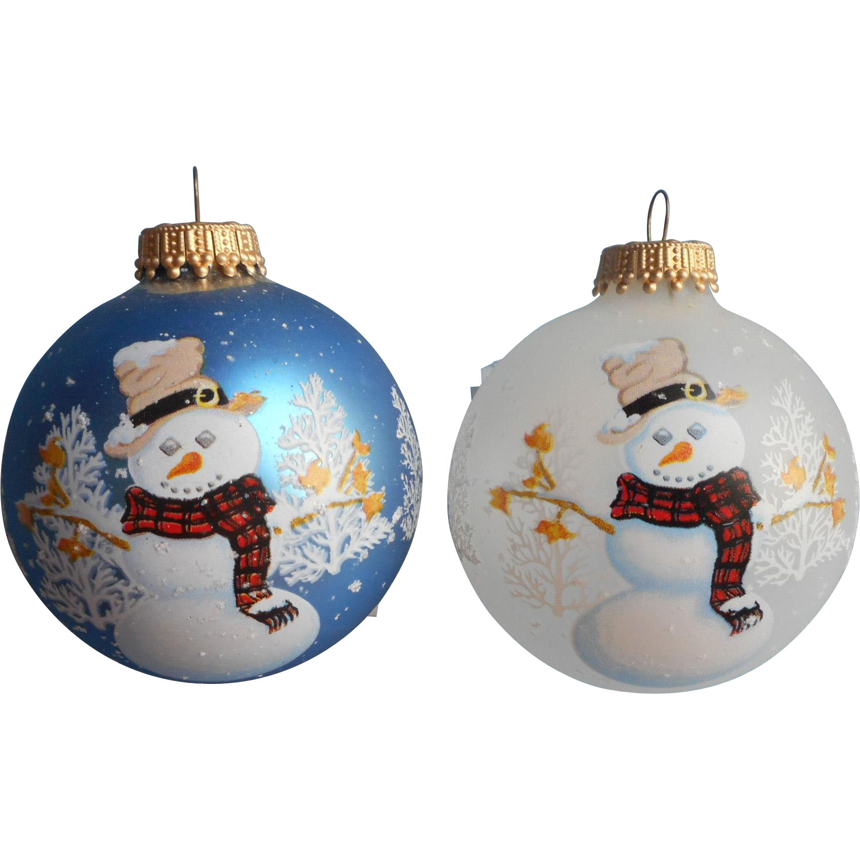 Vintage krebs glass christmas tree ornaments 2 snowmen Vintage glass christmas tree ornaments