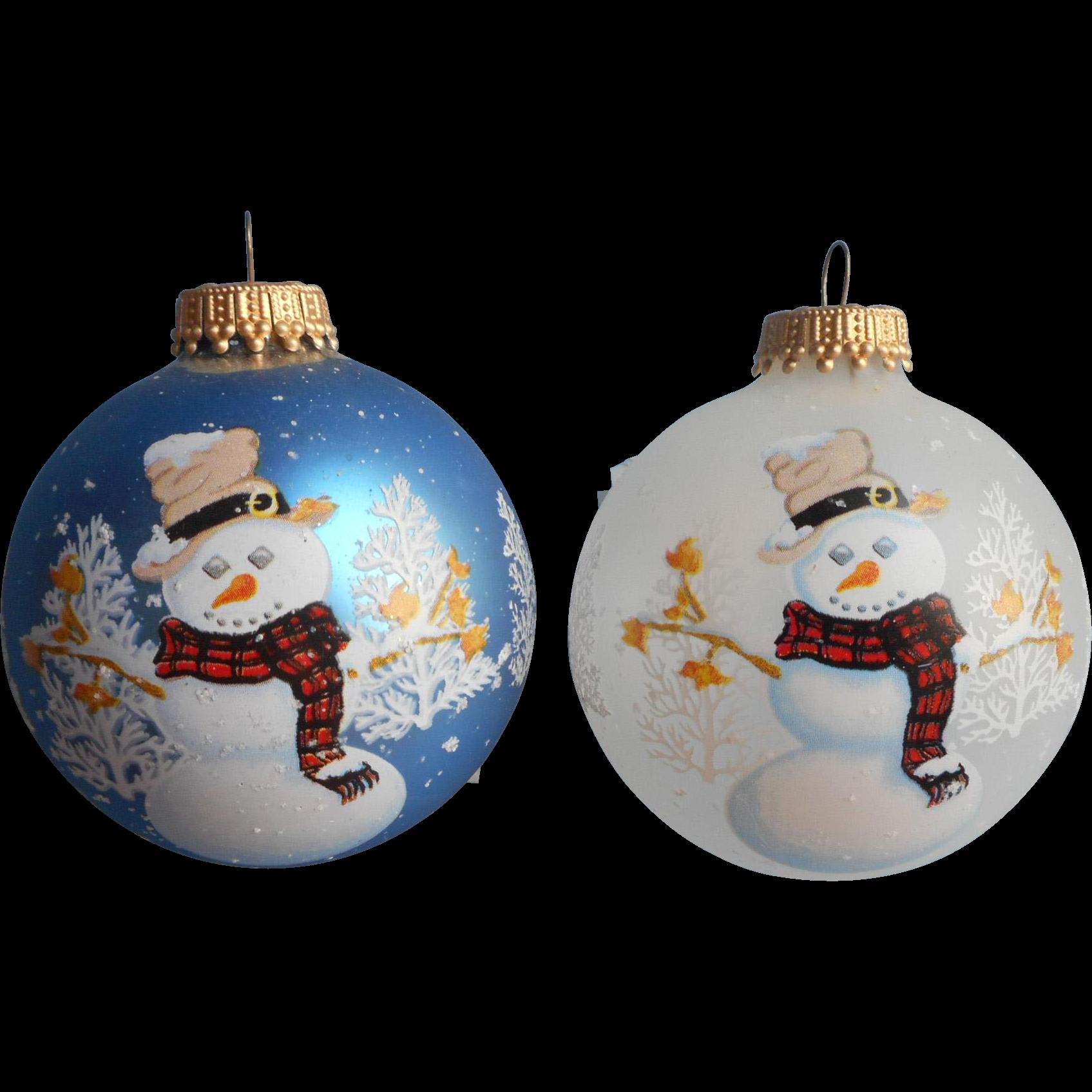 Vintage Krebs Glass Christmas Tree Ornaments 2 Snowmen