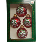 Vintage Krebs Glass Christmas Tree Ornaments Red Pine Cones