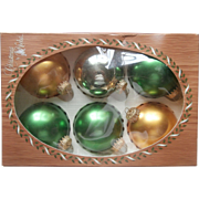 Vintage Krebs Glass Christmas Tree Ornaments Green Yellow Gold