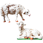 Vintage Fontanini Composition Sheep Lambs 12 Inch Scale Standing Resting