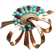Vintage Vermeil Sterling Silver Marcel Boucher Pin Faux Turquoise Faux Pink Sapphires