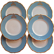 Gold Crest Blue Rims Bread Plates Syracuse China Vintage Monogram F or T