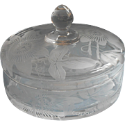 Passion Flower Etched Glass Round Box Candy Dish Vintage Duncan Miller