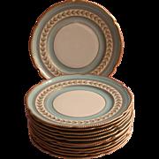 Aqua Gold Vintage Rosenthal Dessert Plates Hand Painted Set 12