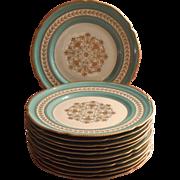 Aqua Gold Vintage Rosenthal Dinner Plates Hand Painted Set 12