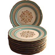Aqua Gold Vintage Rosenthal Dinner Plates Hand Painted Set 12