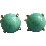 Vintage Earrings Green Peking Glass Type Cabochons Clip