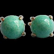 Vintage Earrings Green Peking Glass Type Cabochons Clip