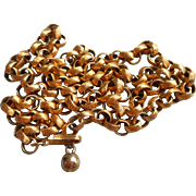 Vintage 1960s Adjustable Chain Necklace Textured Rollo Links