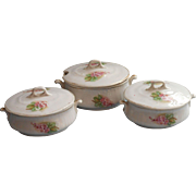 Antique Child's China Set 2 Covered Serving Dishes Tureen w Lid Pink Flowers