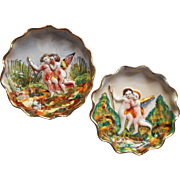 Vintage Capodimonte Pottery Nesting Dishes Putti Hand Painted Italy