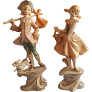 Fontanini Vintage Italy Pair Figurines Flower Girl 276 Traveling Boy 277 Soft Colors