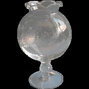 Ivy Vase Vintage Wheel Cut Decoration Glass Original Label
