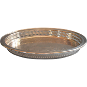 Gallery Rim Small Oval Silver Plated Tray Vintage