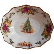 Royal Albert Christmas Magic Lemon Sweetmeats Trinket Dish Vintage English Bone China