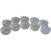 Set Salt Dips Dishes Individual 10 English Hobnail Glass Sawtooth Rims