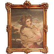 Edwardian Frame Ornate Gesso Wood Wire Antique Framed French Lady Print