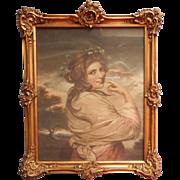 Edwardian Frame Ornate Gesso Wood Wire Antique Framed French Lady Print