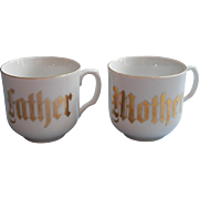 Father Mother Antique Pair Mugs Cups White Gold Hand Painted Germsny