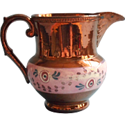 Copper Luster Pink Band Antique English Cream Pitcher Pottery China
