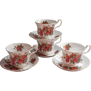 Royal Albert Centennial Rose 4 Cups Saucers Cup Saucer Vintage English Bone China