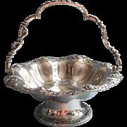 Antique Basket Silver Plated Forbes Chrysanthemum Rim