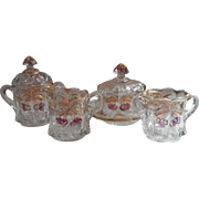 Cheery Cable Antique Northwood EAPG Pressed Glass Table Set Creamer Sugar Bowl Spooner Butter Dish