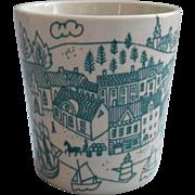 Vintage Danish Midcentury Paul Hoyrup Harbor Scene Nymolle Little Cup Faience Demi Beaker