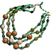 Vintage Green Beads Necklace 3 Strand Glass Plastic W. Germany